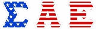 "Sigma Alpha Epsilon Giant 4"" American Flag Greek Letter Sticker"