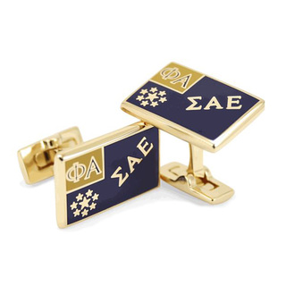 Sigma Alpha Epsilon Gold Plated Flag Cufflinks
