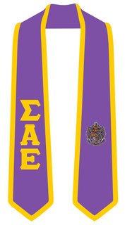 DISCOUNT-Sigma Alpha Epsilon Greek 2 Tone Lettered Graduation Sash Stole
