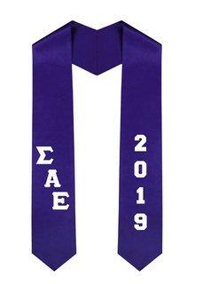 Sigma Alpha Epsilon Greek Diagonal Lettered Graduation Sash Stole With Year