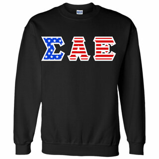 DISCOUNT-Sigma Alpha Epsilon Greek Letter American Flag Crewneck