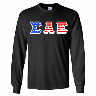 DISCOUNT-Sigma Alpha Epsilon Greek Letter American Flag long sleeve tee