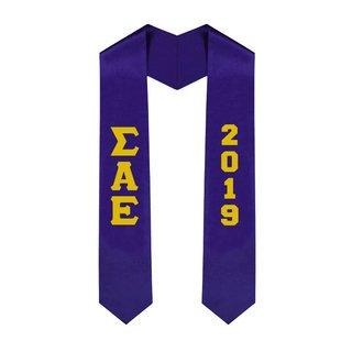 Sigma Alpha Epsilon Greek Lettered Graduation Sash Stole With Year - Best Value