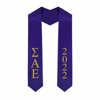 Sigma Alpha Epsilon Greek Lettered Graduation Sash Stole With Year - Best Value