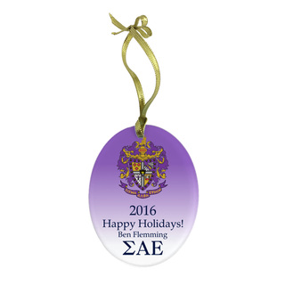 Sigma Alpha Epsilon Holiday Color Crest - Shield Glass Ornament