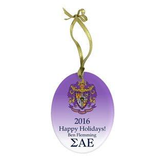 Sigma Alpha Epsilon Holiday Color Crest - Shield Glass Ornament