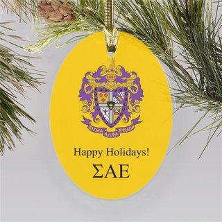 Sigma Alpha Epsilon Holiday Color Crest - Shield Ornament