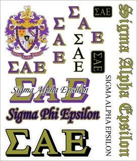 Sigma Alpha Epsilon Multi Greek Decal Sticker Sheet