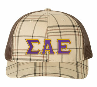Sigma Alpha Epsilon Plaid Snapback Trucker Hat - CLOSEOUT