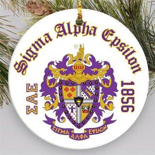 Sigma Alpha Epsilon Round Christmas Shield Ornament