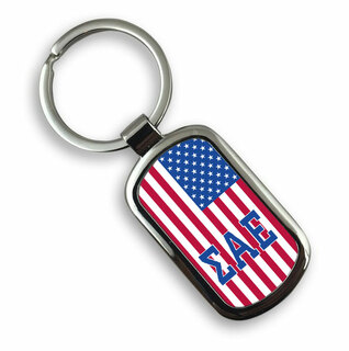 Sigma Alpha Epsilon USA Flag Rectangle Key Ring