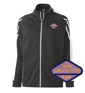 DISCOUNT-Sigma Alpha Epsilon Woven Emblem Greek Flux Track Jacket