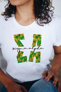 Sigma Alpha Floral Big Lettered T-Shirt