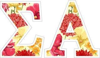 """Sigma Alpha Floral Greek Letter Sticker - 2.5"""" Tall"""