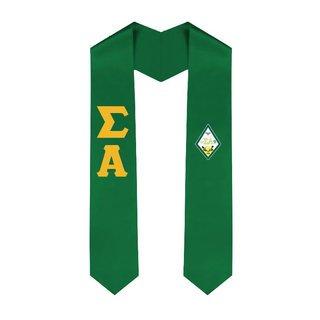 Sigma Alpha Greek Lettered Graduation Sash Stole With Crest