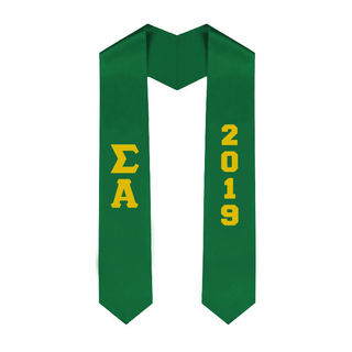 Sigma Alpha Greek Lettered Graduation Sash Stole With Year - Best Value