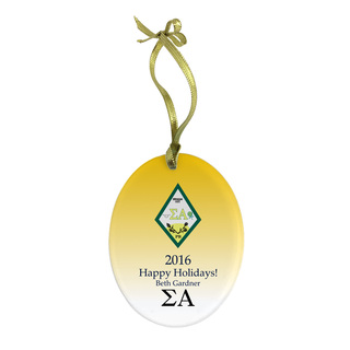 Sigma Alpha Holiday Color Crest - Shield Glass Ornament