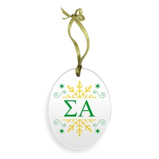 Sigma Alpha Holiday Color Snowflake Glass Christmas Ornament
