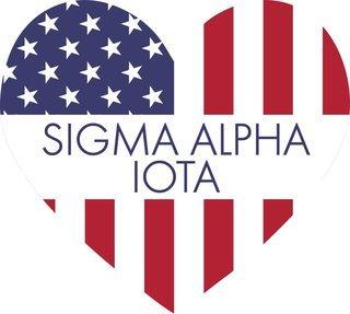 Sigma Alpha Iota American Flag Greek Heart Shaped Decal