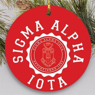 Sigma Alpha Iota Round Christmas Shield Ornament
