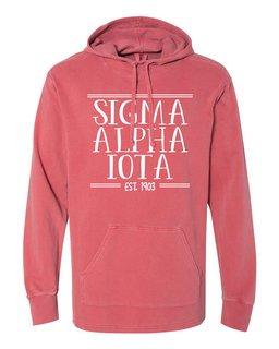 Sigma Alpha Iota Comfort Colors Terry Scuba Neck Custom Hooded Pullover