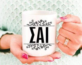 Sigma Alpha Iota Floral Letters Mug