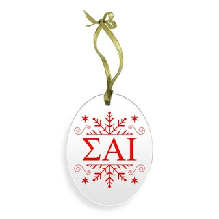 Sigma Alpha Iota Holiday Color Snowflake Glass Christmas Ornament
