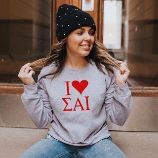 Sigma Alpha Iota I Love Crewneck Sweatshirt