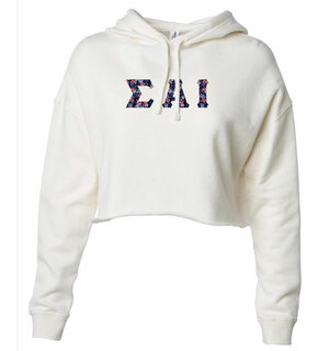 Sigma Alpha Iota Lightweight Hooded Pullover Crop Sweatshirt