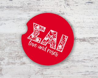 Sigma Alpha Iota Love & Roses Sandstone Car Cup Holder Coaster