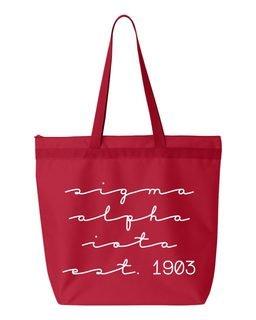 Sigma Alpha Iota New Script Established Tote Bag