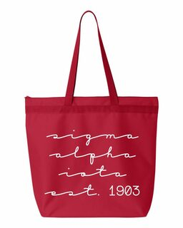 Sigma Alpha Iota New Script Established Tote Bag