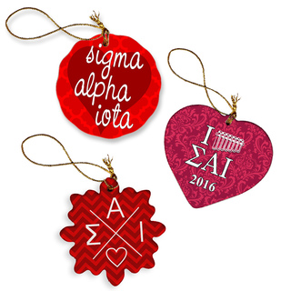 Sigma Alpha Iota Porcelain Ornament Trio Set