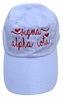 Sigma Alpha Iota Script Hearts Ball Cap
