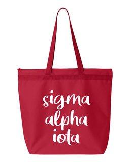 Sigma Alpha Iota Script Tote Bag