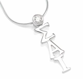 Sigma Alpha Iota Sterling Silver Lavaliere Pendant with Swarovski� Clear Crystal