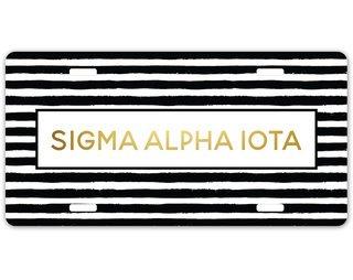 Sigma Alpha Iota Striped Gold License Plate
