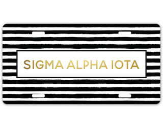 Sigma Alpha Iota Striped Gold License Plate