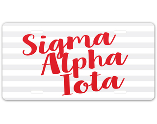 Sigma Alpha Iota Striped License Plate