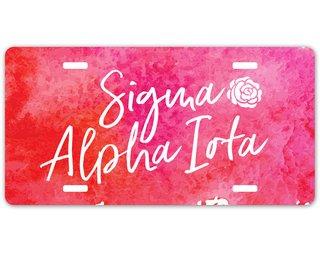 Sigma Alpha Iota Watercolor Script License Plate