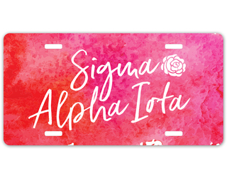 Sigma Alpha Iota Watercolor Script License Plate