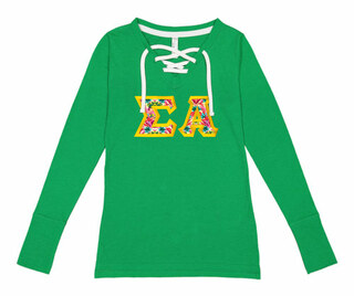 Sigma Alpha LAT - Sorority Fine Jersey Lace-Up Long Sleeve T-Shirt