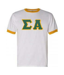 DISCOUNT-Sigma Alpha Lettered Ringer Shirt