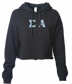 Sigma Alpha Lightweight Hooded Pullover Crop Sweatshirt