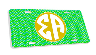 Sigma Alpha Monogram License Plate