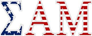 "Sigma Alpha Mu American Flag Greek Letter Sticker - 2.5"" Tall"
