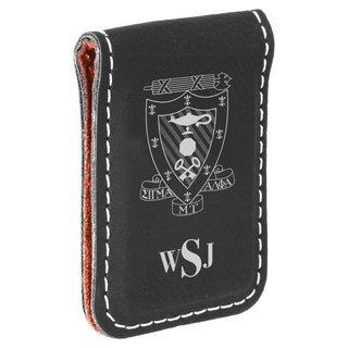 Sigma Alpha Mu Crest Leatherette Money Clip