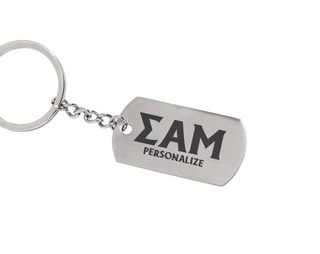 Sigma Alpha Mu Dog Tag Style Custom Keychain