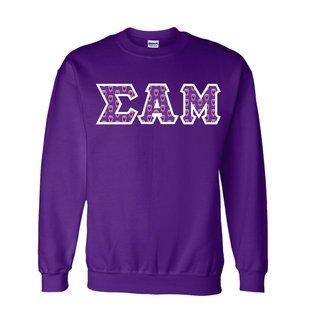 Sigma Alpha Mu Fraternity Crest - Shield Twill Letter Crewneck Sweatshirt