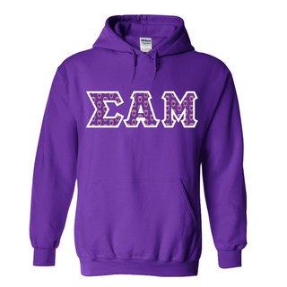 Sigma Alpha Mu Fraternity Crest - Shield Twill Letter Hooded Sweatshirt